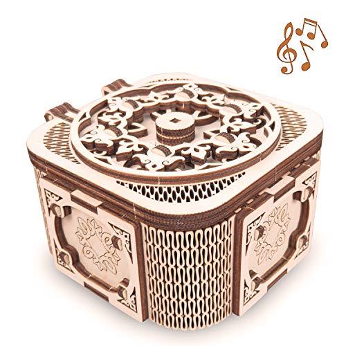 GuDoQi 3D Holzpuzzle, Schatzkiste mit Musik, Mechanisches Modell zum Bauen, Bastelset aus Holz für Jugendliche und Erwachsene, DIY-Spielzeug zum Zusammenbauen, 3D Puzzle Geschenke