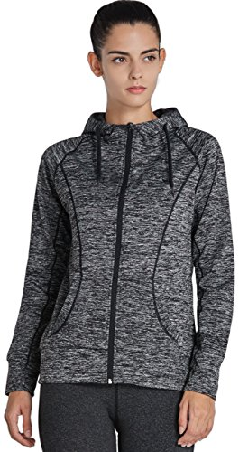 Komprexx Women's Lightweight Full Zip Hooded Track Jackets Athletic Long Sleeve Running Top with Thumb Holes