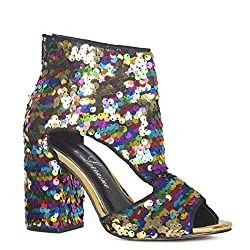 "Roxy Multi-Color Rainbow Sequin 4"" Heel Peep-Toe"