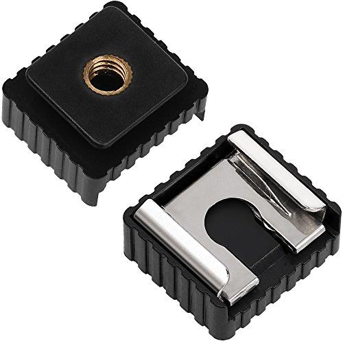 Camera Flash Hot Shoe Mount Adapter to 1/4' Thread Hole for Flash Holder Bracket Light Stands Umbrella Holder Flash Bracket (2 Pack)