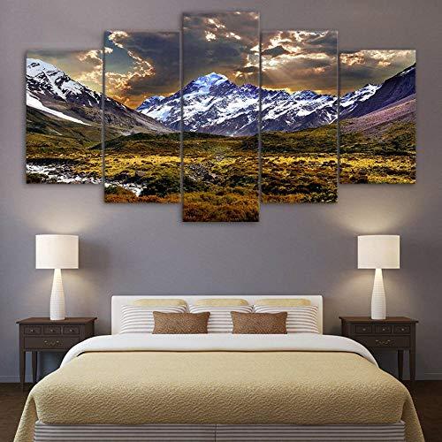 GHYTR Nevado Montaña Verde Prado Cielo Nubes Lienzo 5 Piezas Abstracto Pared Arte Pintura Grandes Cuadros Marco 150×80Cm Cartel Pared Decoracion Hogar Murales Pared Sala Dormitorio Regalo