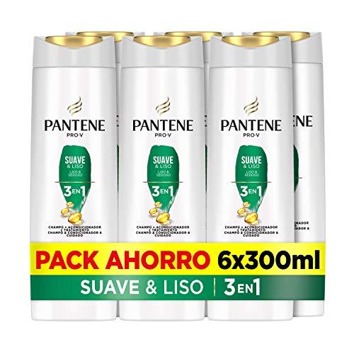 Pantene Pro-V Suave & Liso Champú, Acondicionador Y Tratamiento 3En1, Suavidad Increíble Y Control Del Encrespamiento, 6 x 300ml