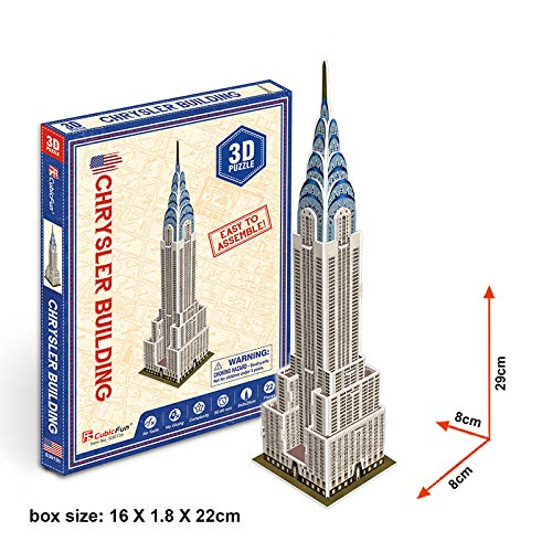 Ydq 3D Puzzle, Diy Architecture Model Blocks Building Kits Laser-Cut Educational Assemble Toy|Brain Teaser Gift and Souvenir for Adults Teens | Room Decoration,Chrysler Building