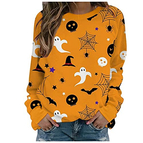 Tekaopuer Sudadera de Halloween para mujer, diseño de gato negro calabaza fantasma bruja sombrero gráfico suéter cuello redondo manga larga Tops Jersey, D01-amarillo, M
