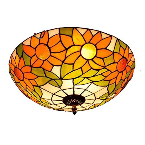 Sun Flower Tinto Lampada Da Soffitto a Lampada a Filo, Camera Da Letto in Stile Tiffany Da 16 Pollici, Cucina, Balcone Soffitto Illuminazione a Sospensione, E26 / E27, 40W X 3