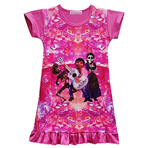PCLOUD Coco Comfy Lose Pyjama Mädchen bedruckt Cartoon Kleid -  Pink -  2-3 Jahre