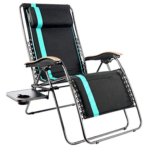 PORTAL Oversized Padded Zero Gravity Chairs, XL Seat Adjustable Patio Lounge Recliner Chair with Lumbar Support Pillow and Side Table Support 350lbs