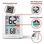 AcuRite Monitor for Greenhouse, Home or Office(3 x 2.5 Inches) Room Thermometer Gauge with Temperature Humidity, Digital… 9 Air Comfort Indicator (Indicates Low, Ok, or High Humidity) Accurate High and Low Records -4° to 158°F; -20° to 70°F Degree Range with +/- 0. 5°F Accuracy