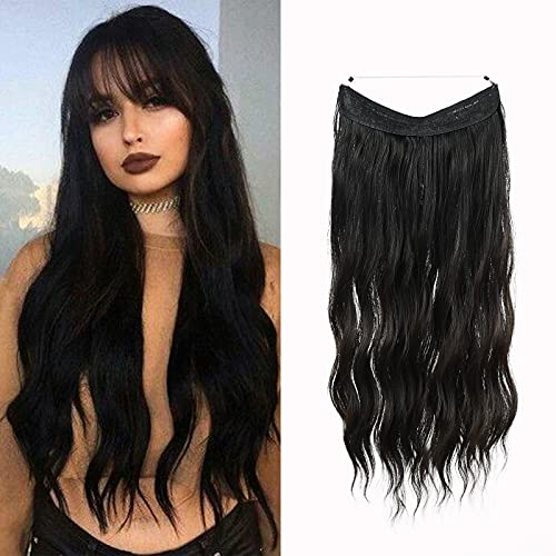 HAIRCUBE Halo Hair Extensions Invisible Crown Curly Hairpieces Adjustable Size Headband Transparent Wire No Clips 20 Inch Black