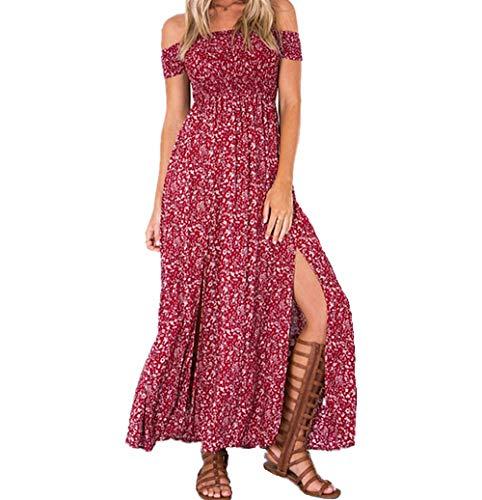 Colording Women's Boho Off Shoulder Strapless Summer Beach Floral Slit Maxi Dress-Red-M
