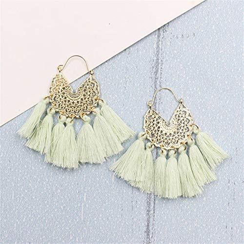 ZNXHNDSH HND Big Tassel Earrings for Women Geometric Statement Earring Jewelry Gift Weekend Party (Color : Mustard green)