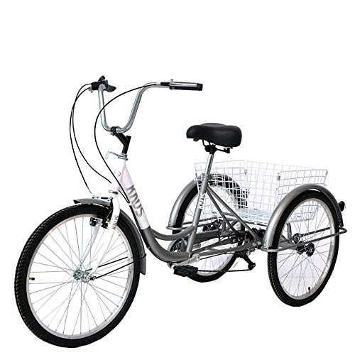 Knus Adult Tricycle Trikes,7 Speed 3-Wheel Bikes,26 Inch Wheels Cruiser Bicycles with Large Shopping Basket for Women and Men -Silver