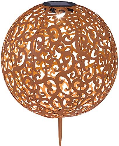 Solarleuchte rostfarbene Leuchtkugel aus Dekorgeflecht - Garten für Außen Deko Solarlampe LED Gartenlampen Solar Rost (Erdspieß Dekoleuchte Rostoptik Kugel Durchmesser 28,5 cm)