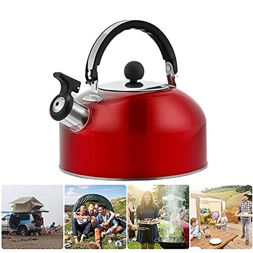 Hervidor de agua de acero inoxidable 3L, ligero, compacto y duradero para camping, viajes, senderismo, cocina, camping, barbacoa (rojo)