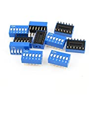 10 Pcs Green 2 Row 12 Pins 6 Positions DIP Sliding Switch 2.54mm Pitch