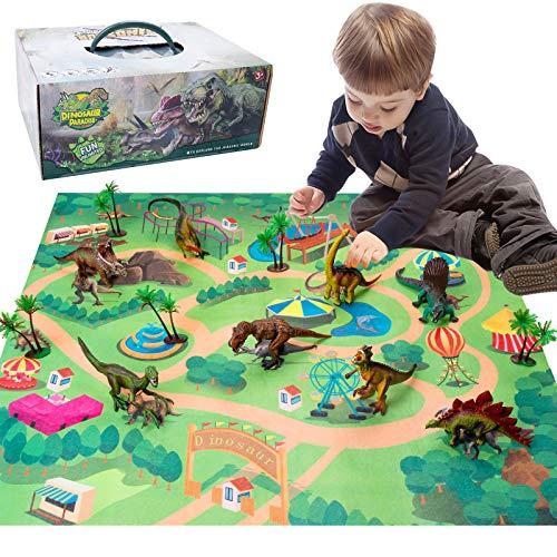 HomeMall Dinosaurier Spielzeug,Dinosaurier Figuren Modell,Figur mit Aktivität Spielmatten & Bäume für Kindergeburtstag Ausbildung Party Dekoration