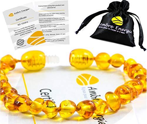 AmberJewellery Pulsera de ámbar 14cm. - De la Máxima Calidad Certificado Genuino Collar de Ámbar Báltico/Rápido Entrega / 100 Días de Garantía de Devolución de Dinero! (Honey)