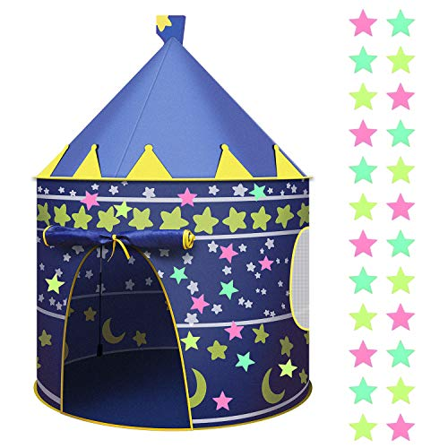 URATOT Blue Castle Tent Toy Play Tent Portable Collapsible Indoor and Outdoor Tent with Glow in the Dark Star Sticker