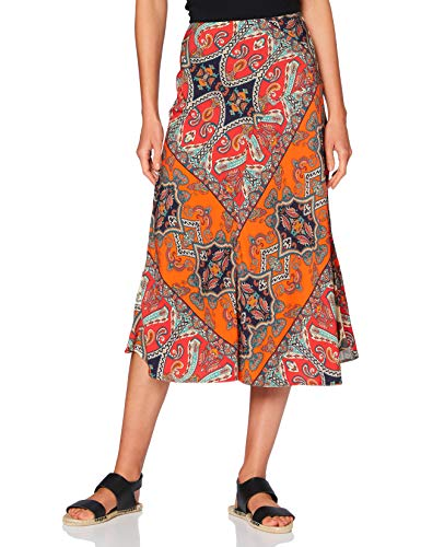 Amazon-Marke: find. Damen Sommer-Midirock, Mehrfarbig (Multi), 38, Label: M