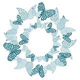 36 Pezzi Blu 3D farfalle adesivi da parete Adesivi Decorazioni Farfalla 3D Adesivi Murali ...