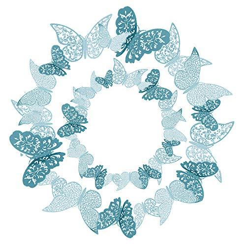 36 Pezzi Blu 3D farfalle adesivi da parete Adesivi Decorazioni Farfalla 3D Adesivi Murali fai da te Adesivi Murali Camera da Letto per Murali Adesivi per la Casa Murali Decorativi Rimovibili