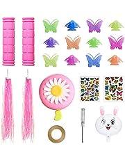 Yunde Fietsaccessoires voor kinderen meisjes fietsversieringen inclusief roze fietsstuurgrepen, fietsstreamers, vlinder fiets wielspaken, bloemenbel en stickers, konijnballon