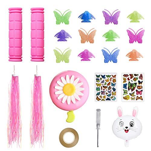 Yunde Akcesoria rowerowe dla dzieci dziewczynek dekoracje rowerowe w tym różowe uchwyty na kierownicę rowerową, strumieniowce rowerowe, szprychy motylkowe na koła rowerowe, dzwonek do kwiatów i naklejki, balon królik