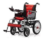 NACHENW Angetriebene Klappstahlrollstuhl Leichtes Mobilitätsgerät für ältere Beine, Füße behindert, hemiplegische Patienten,Rot -