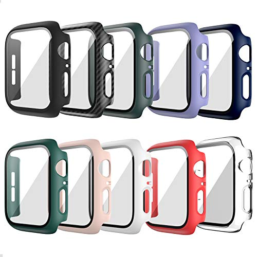 10 Pack Hard Case for Apple Watch Series 6 40mm SE with Built-in Tempered Glass Screen Protector,JZK Thin Bumper Full Coverage Bubble-Free Cover for iWatch Series SE/6/5/4 40mm Accessories