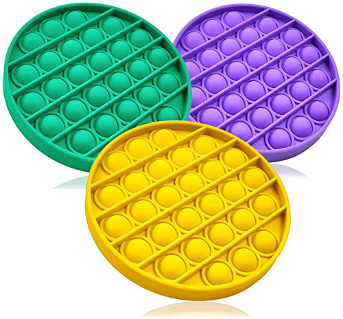 WeiShengDa 3PC Push pop pop Bubble Sensory Fidget Toy Autism Special Needs Stress Reliever,Squeeze Sensory Toy, for Kids, Family,and Friends (Round Green+Purple+Yellow)