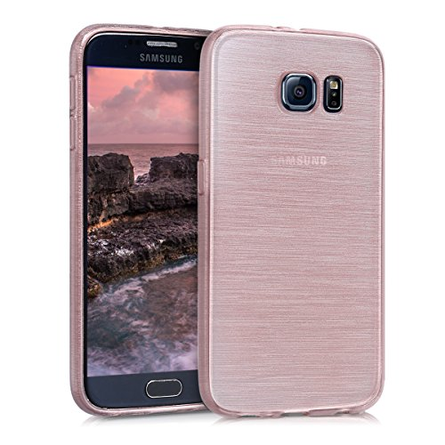kwmobile Hülle kompatibel mit Samsung Galaxy S6 / S6 Duos - Handyhülle - Handy Case Brushed Aluminium Rosegold Transparent