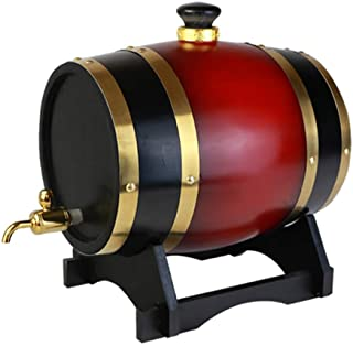 ワイン樽 オーク・バレル ワインオークバレル ワインサーバー ウイスキーバケット、ウイスキーワインブランデー(1.5 L)のステンレスライナーワインディスペンサー付きオークエージングバケット (Color : Crimson, Size : ...