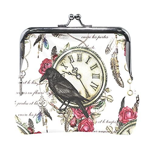 Monedero para Mujer Black Crow Red Rose y Reloj Vintage Monederos de Cambio de Plumas para Mujer con Cierre de Beso Monedero de Cuero para Mujer niña 4.5x4.1 Inch
