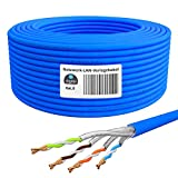 HB-DIGITAL 100m Cat. 8 cable de red tendido cable de instalación B2Ca interior-∅ 0,6 mm Ethernet cable LAN Cat8 hasta 40 Gbit/s cobre S/FTP 2000 MHz PIMF LSZH libre de halógenos AWG 22/1 azul