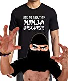 Men's Ask Me About My Ninja Disguise T-Shirt, Flip Over, Hallowen XS-3XL (2XL, Black)