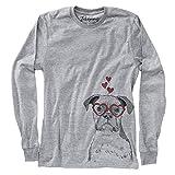 Valentine Daisy The Boxer Dog Unisex Long Sleeve T-Shirt Large Grey