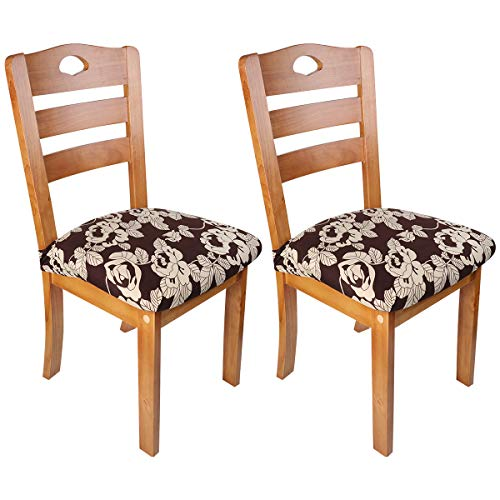 KingQin Stretch Spandex Dining Chair Slipcover Printed Chair Seat Protector Anti-dust Upholster Elastic Chair Seat Cover Removable Washable for Dining Room Kitchen Office Set of 2/4/6/8
