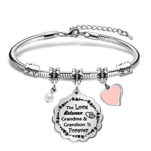 BHXRODE Nana Wrist Bangle Grandma Granddaughter Bracelet Grandmother Grandson Infinite Love Jewelry Christmas Mothers Day (Grandma Grandson)