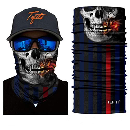 TEFITI Balaclava Face Scarf, Multifunctional Headwear Neck Gaiter for Men, 3D Dust Scarf Sun UV Dust Wind Proof for Outdoor Camping, Running, Motorcycling, Fishing, Hunting