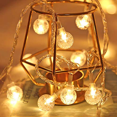 HexyHair Fairy Globe String Lights Battery Operated, 20ft40LEDWarm White Hanging Lights for Indoor Bedroom Patio Party Decoration