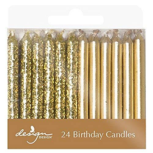 Design Design Metallic Birthday Candles, 1/4 x 2 3/8', Gold