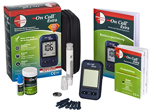 Swiss Point Of Care On Call Extra Starterpack | On Call Extra Messgerät, 10 Teststreifen, 10 Lanzetten, 1 Stechhilfe, Kontrolllösung | Maßeinheit: mg/dl | ACHTUNG: Ablaufdatum Teststreifen 07/2020