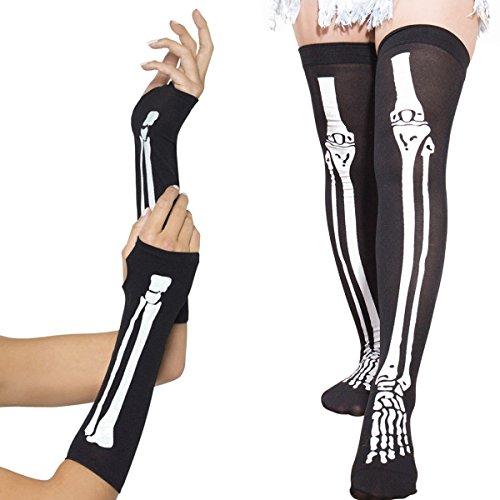 Mardi Gras Carnival Women's Skeleton Fingerless Gloves & Stockings Party