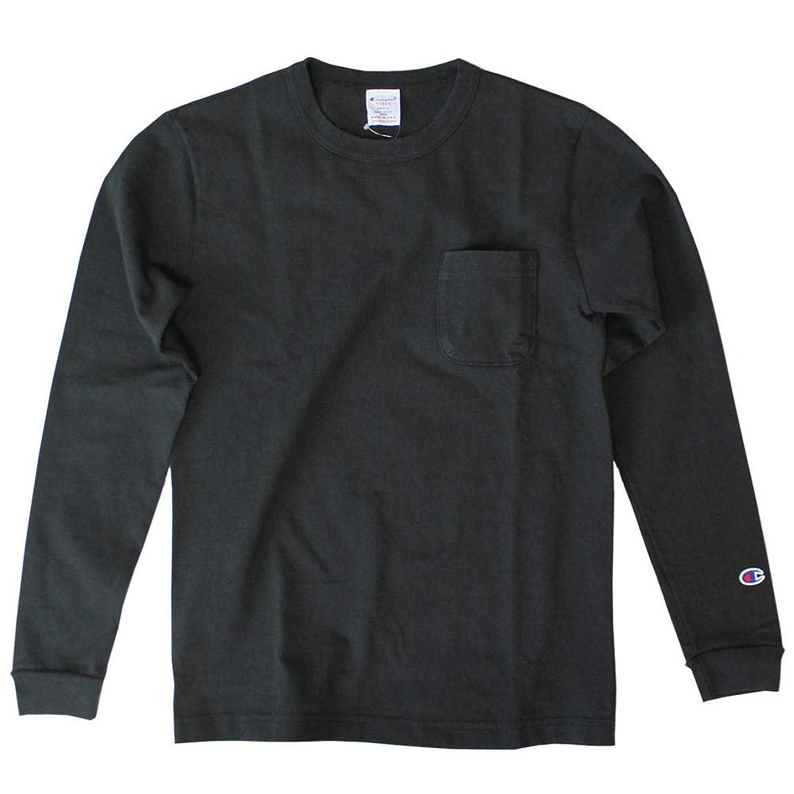 ナンセンスプレゼンター圧倒的(チャンピオン) Champion T1011 ラグラン ポケット付きロングスリーブTシャツ ロンT C5-P401 ブラック Black