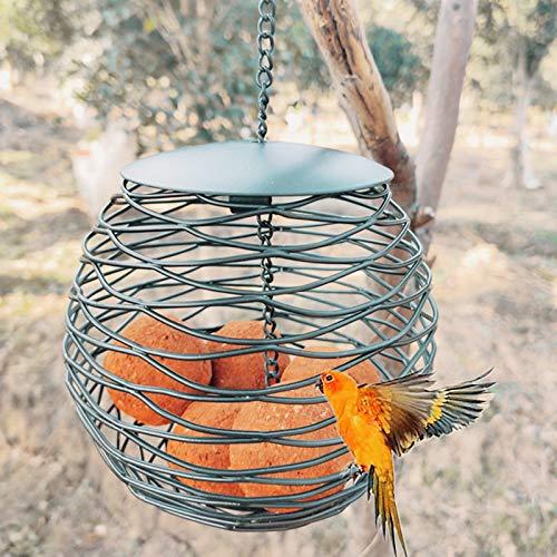 ZHHOOHAG Comedero Pajaros Alimentador de pájaros Salvaje Vintage Al Aire Libre Metal Suspensión Spray Bola de Metal Alimentador de Nido con Cadena Colgante Comedero Pajaros Exterior