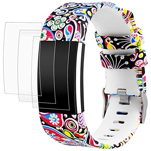"""AFUNTA Fitbit Charge 2 Elastomer Armband Ersatz mit Displayschutzfolien, 1 Printing Design Band Armband 6,5\""""- 9,0\"""", mit 3 Pack Anti-Scratch TPU Schutzfolien"""