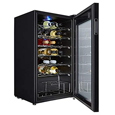 Cookology CWC34BK 34 Bottle wine cooler, under counter design, perfect for fitted kitchens. 48cm wide and 93L of cooling space, cools down to 5oC with interior light. by Cookology