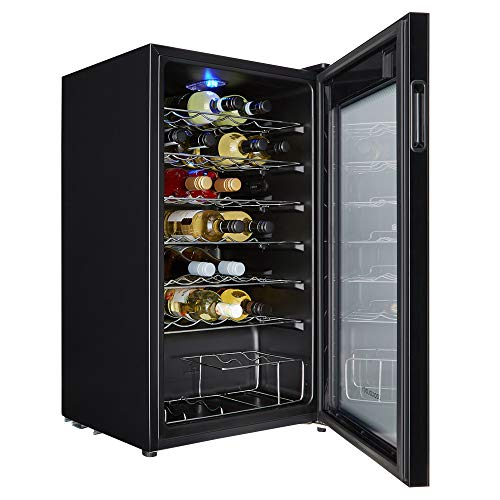 Cookology CWC34BK 34 Bottle wine cooler, under counter design, perfect for fitted kitchens. 48cm wide and 93L of cooling space, cools down to 5oC with interior light.