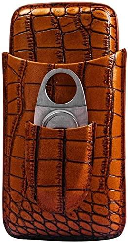 WANGXIAOYUE Caja de cigarros Cigarros de Cuero de Cuero de Cigars Cedar, Accesorios para cigarros equipados con Acero Inoxidable de cigarro Caja de Tabaco (Color : Crocodile Skin)