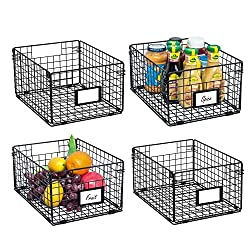 4 black wire baskets with handle on one side